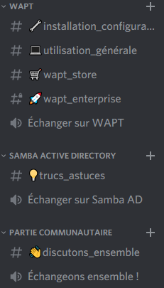 Overview of Discord rooms in the WAPT category